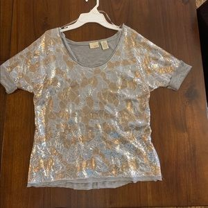 silver and gold sequin front top